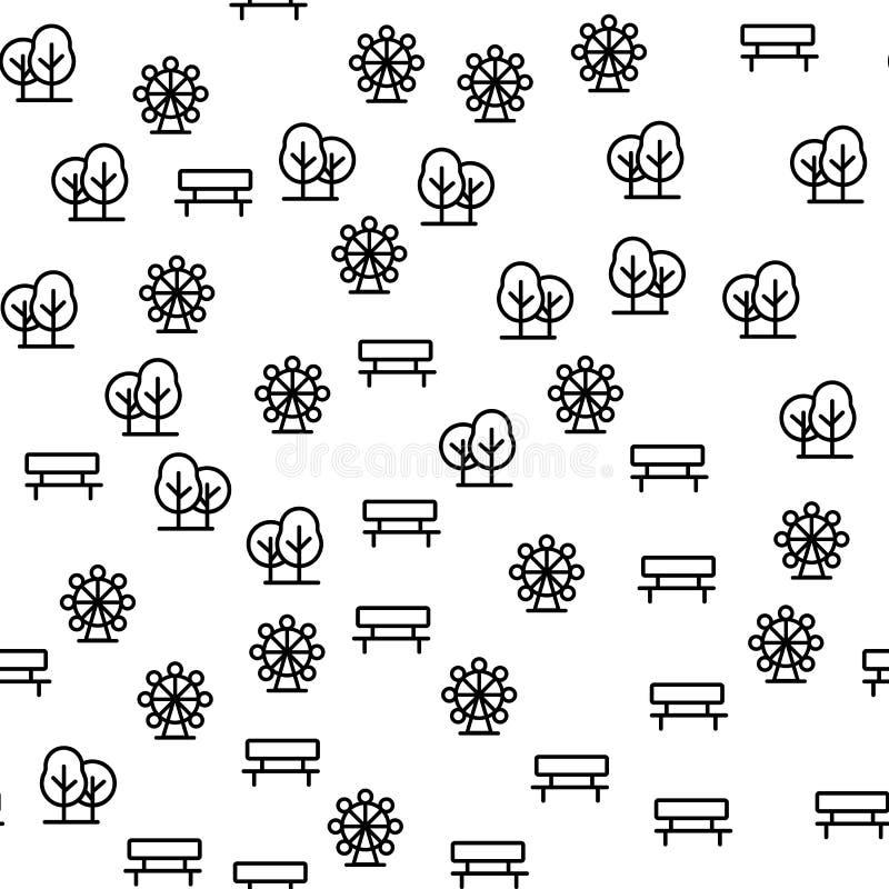 Elementi del vettore senza cuciture del modello del parco di divertimenti illustrazione vettoriale