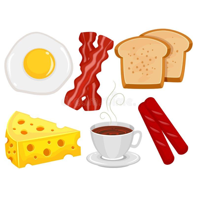 Elementi dell'alimento di prima colazione illustrazione di stock