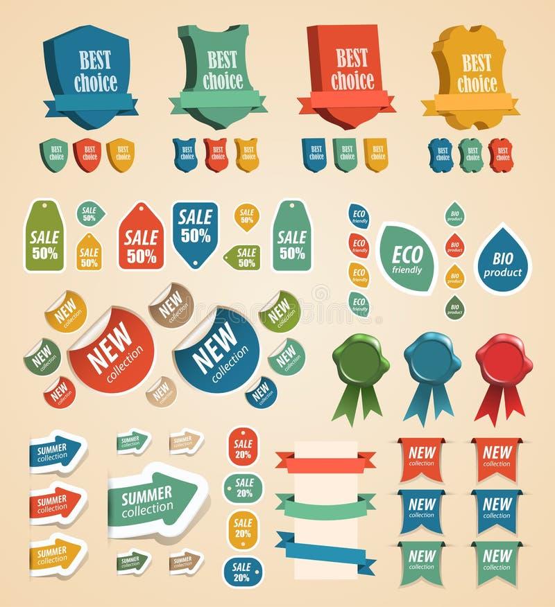 Elementi dell'annata di disegno: modifiche, autoadesivi, nastri. illustrazione vettoriale