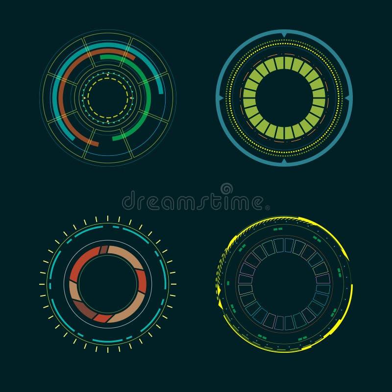 Elementi dell'interfaccia di HUD del cerchio Illustrazione di vettore illustrazione vettoriale