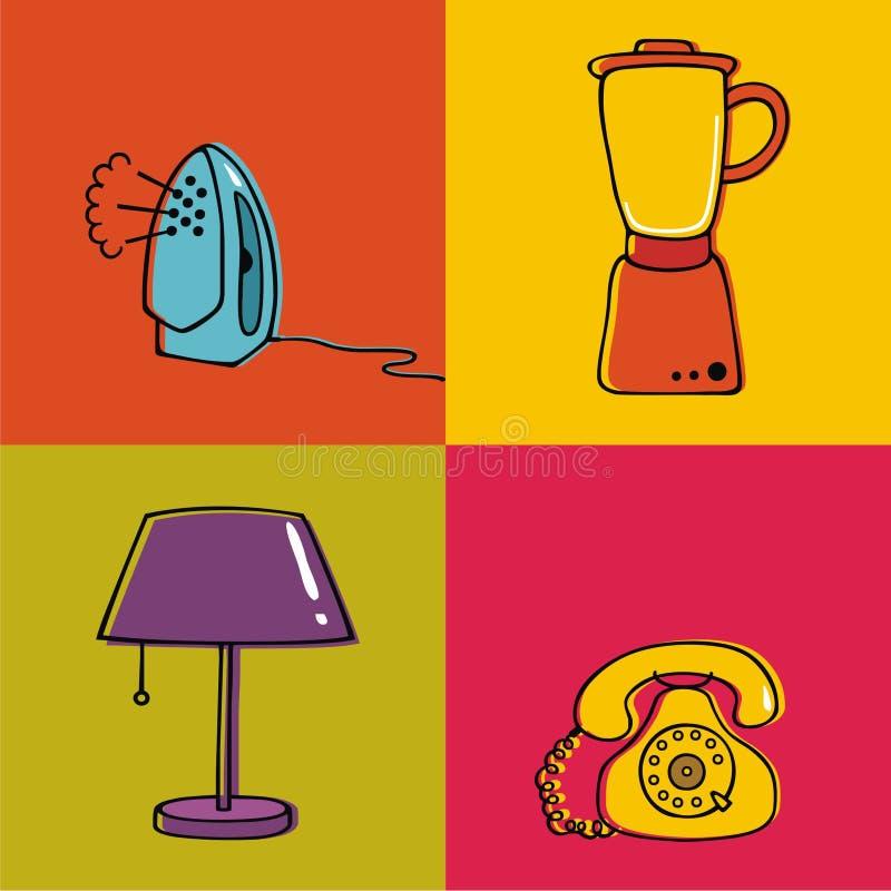 Elementi della famiglia, lampada, miscelatore, telefono, ferro fotografie stock libere da diritti