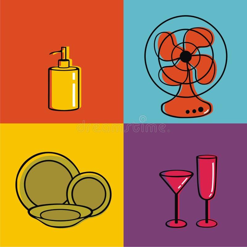 Elementi della famiglia, piatti, ventilatori, tazze, perno del sapone fotografia stock