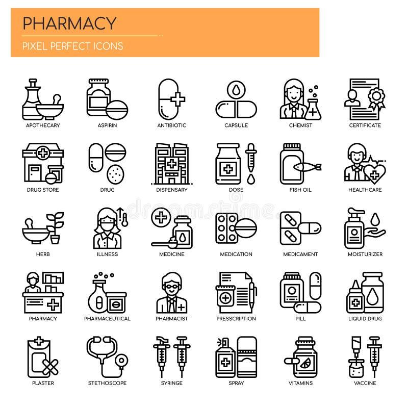 Elementi della farmacia, icone perfette del pixel royalty illustrazione gratis