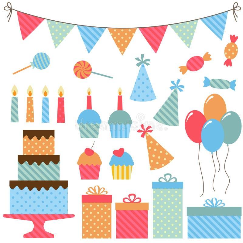 Elementi della festa di compleanno illustrazione vettoriale