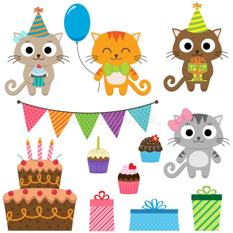 Elementi della festa di compleanno con i gatti royalty illustrazione gratis