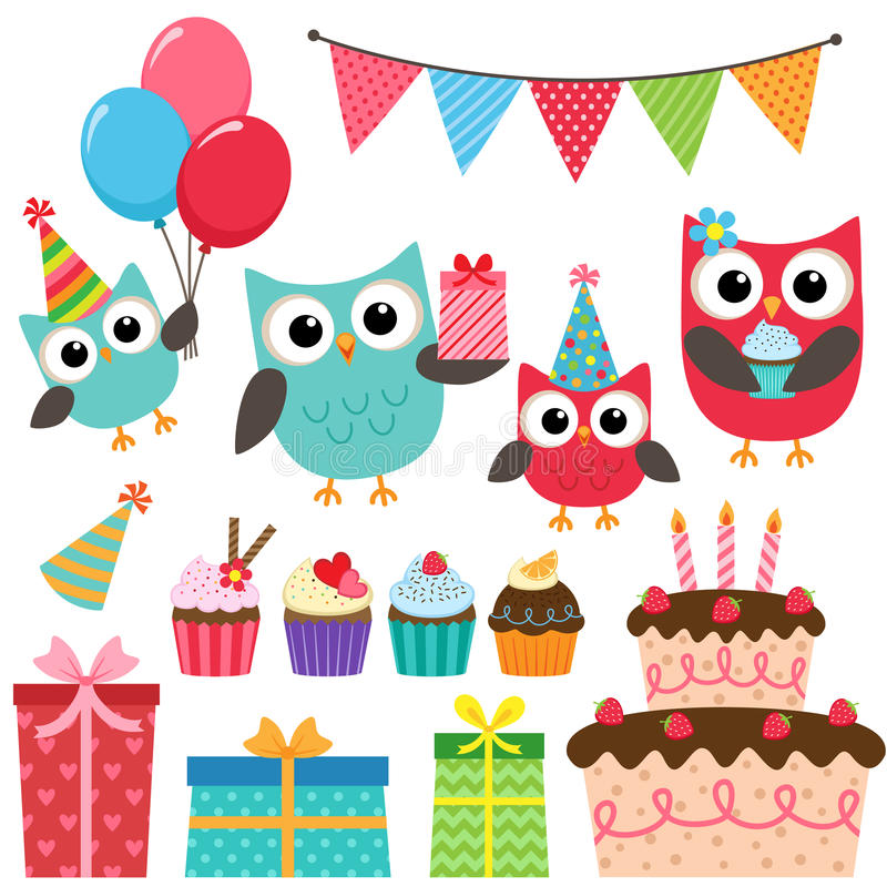 Elementi della festa di compleanno con i gufi royalty illustrazione gratis