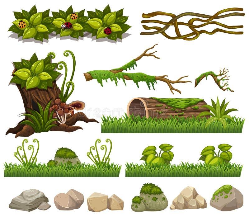 Elementi della natura con erba e rocce illustrazione vettoriale