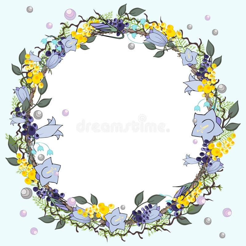 Elementi della primavera con i fiori e le erbe blu di contorno immagini stock