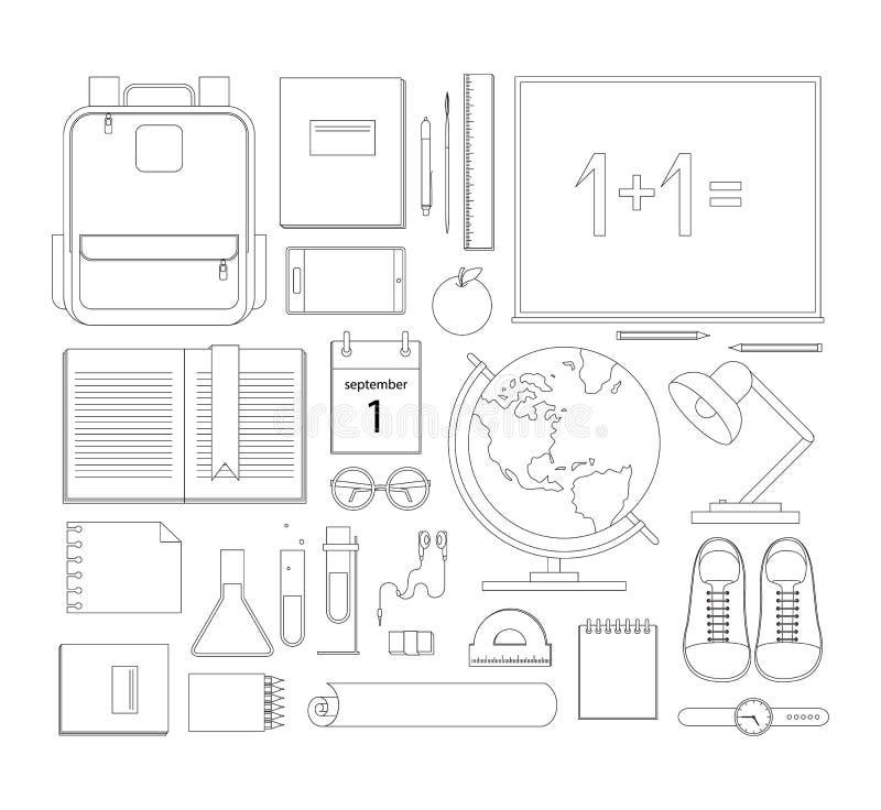 Elementi della scuola Concetti di progetto piani di vettore di istruzione Educatio illustrazione di stock