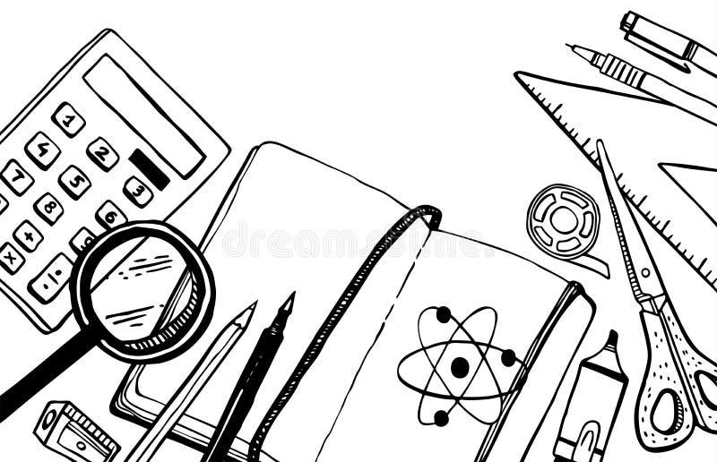 Elementi della scuola Vista superiore della tavola dell'allievo Illustrazione disegnata a mano di vettore di schizzo di scarabocc illustrazione di stock