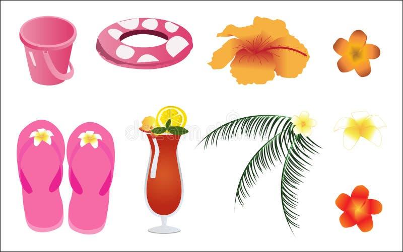 Elementi della spiaggia di estate di vettore illustrazione di stock
