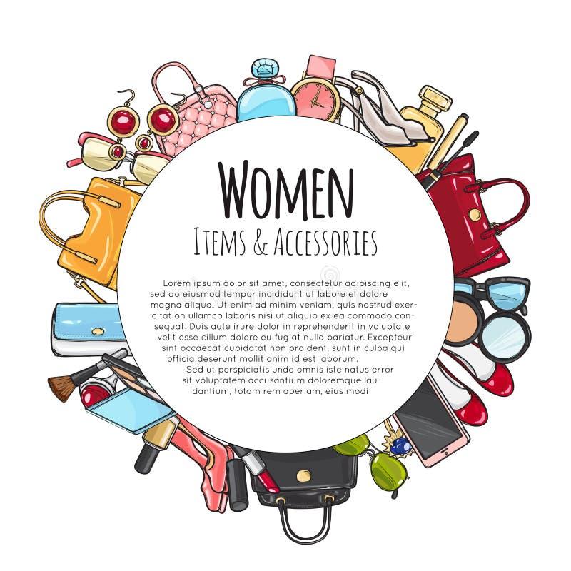 Elementi delle donne e struttura rotonda degli accessori Cosmetici illustrazione vettoriale