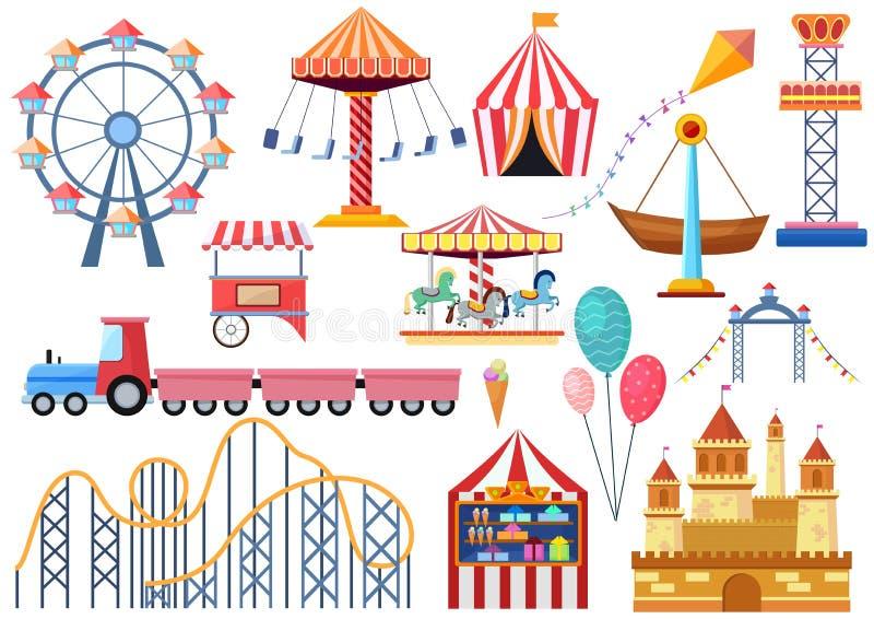 Elementi delle icone di spettacolo di vettore del parco di divertimenti isolati Ruota di ferris piana del fumetto variopinto, car illustrazione di stock
