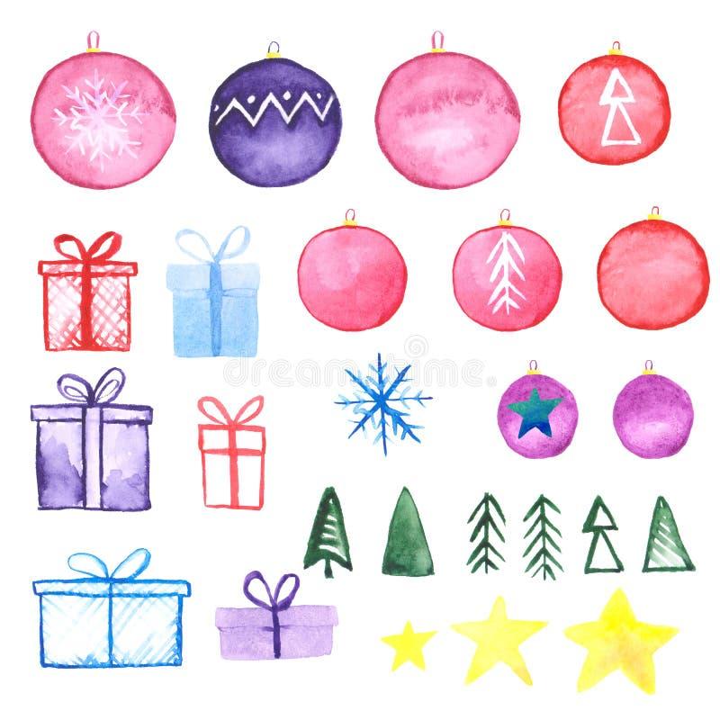 Elementi delle palle dei regali di Natale isolati Illustrazione a mano libera dell'acquerello dell'estratto per la cartolina d'au royalty illustrazione gratis
