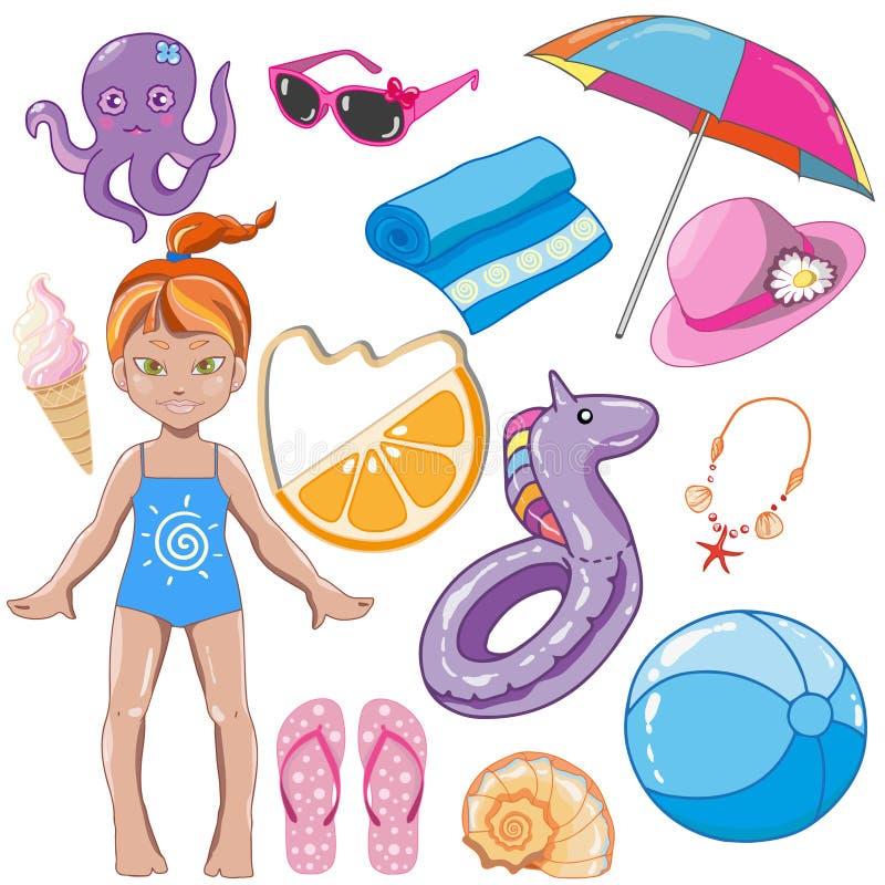 Elementi delle vacanze estive dei bambini illustrazione di stock