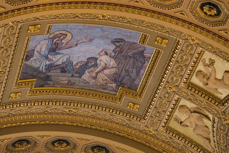 Elementi di architettura e dell'interno nella basilica di St Stephen immagini stock libere da diritti