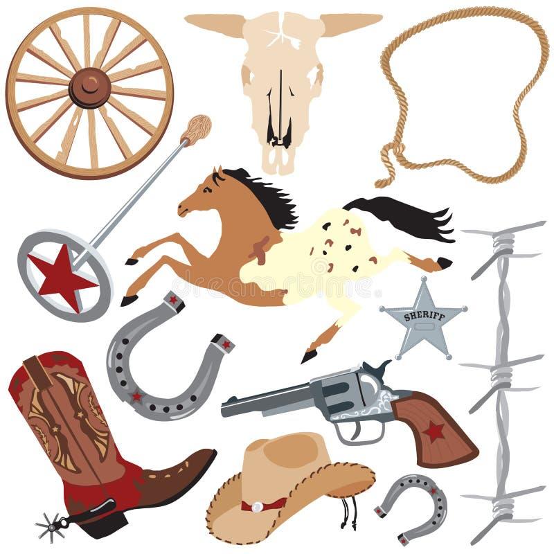 Elementi di arte di clip del cowboy, isolati su bianco