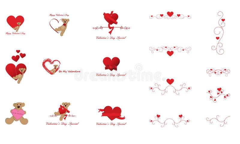 Elementi di arte e di disegno di clip del giorno del biglietto di S. Valentino royalty illustrazione gratis