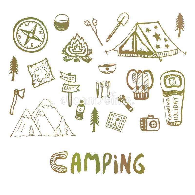Download Elementi Di Campeggio Disegnati A Mano Icone Di Vacanze Estive Skethes Di Vettore Illustrazione Vettoriale - Illustrazione di viaggio, elementi: 56882268