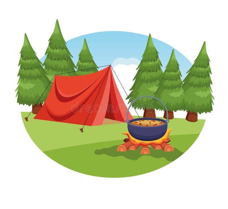 Elementi di campeggio in un paesaggio rurale illustrazione vettoriale