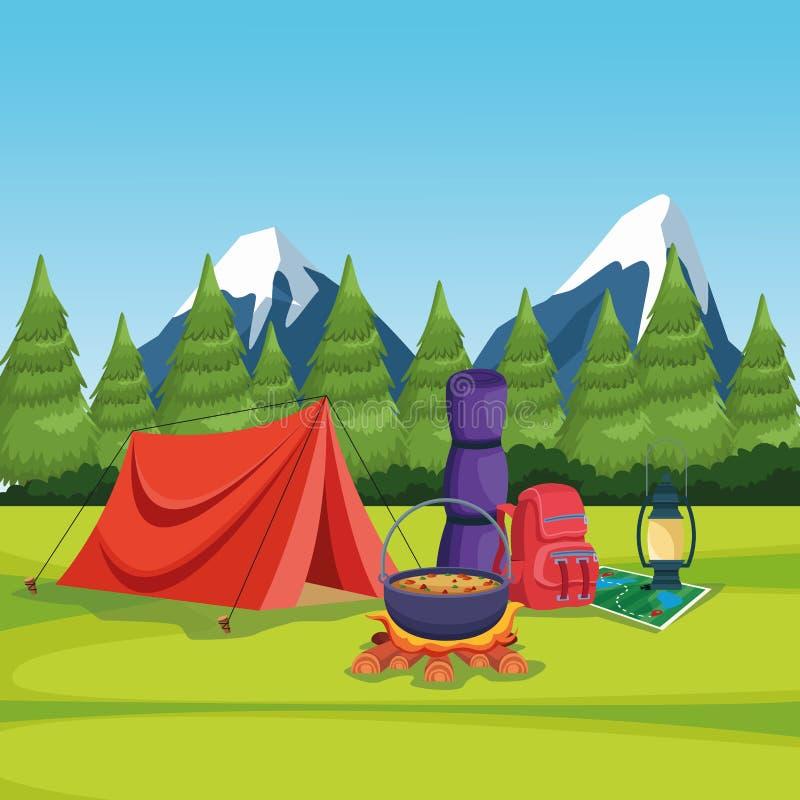 Elementi di campeggio in un paesaggio rurale illustrazione di stock