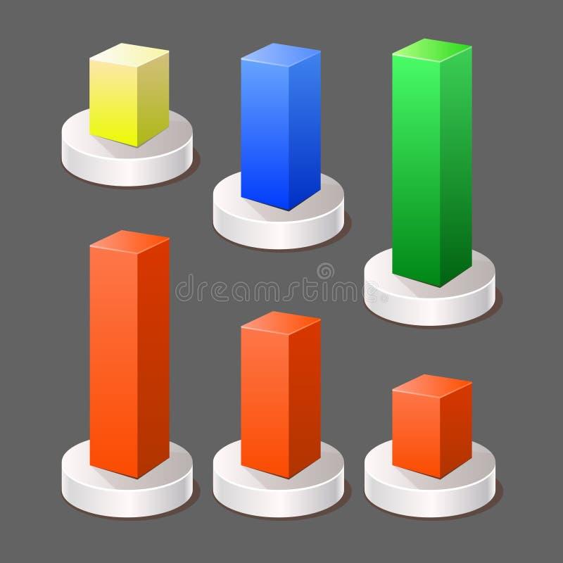 Elementi di colore moderni di Infographic del grafico dell'estratto 3d. Vettore royalty illustrazione gratis