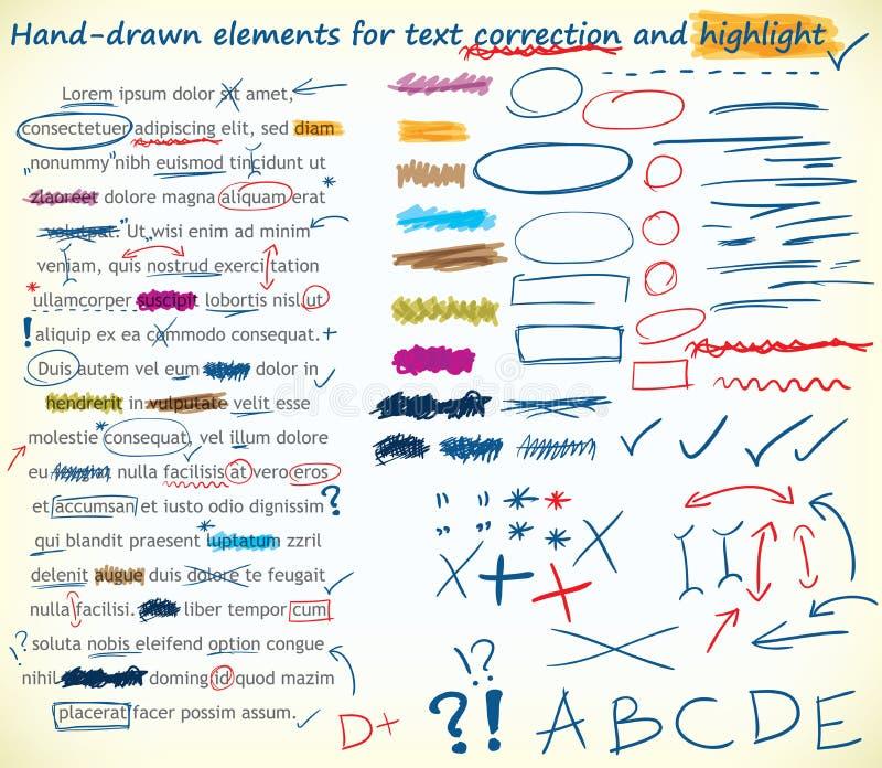 Elementi di correzione del testo illustrazione vettoriale