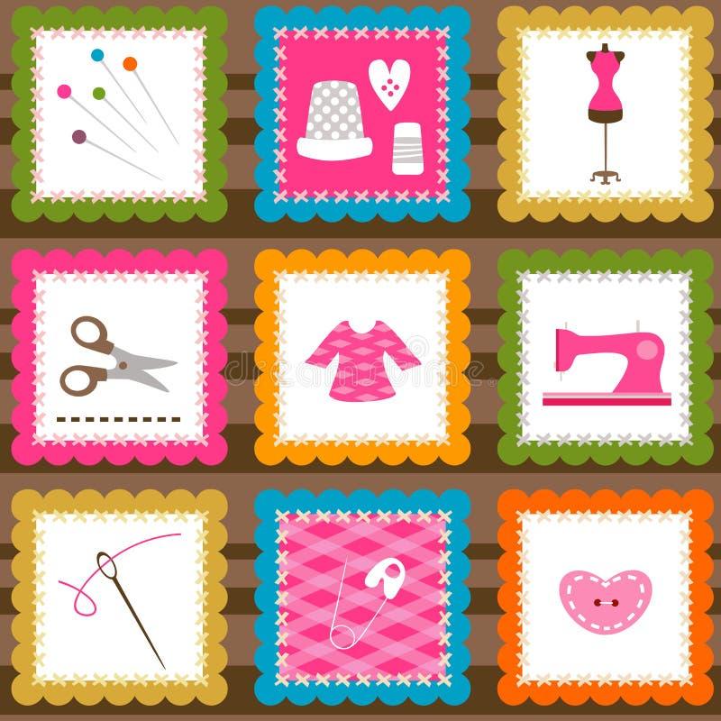 Elementi di cucito illustrazione vettoriale