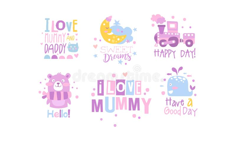 Elementi di decorazione per sale parto Nursery con Quotazioni di ispirazione Set, Illustrazione vettoriale per la raccolta di sta illustrazione di stock