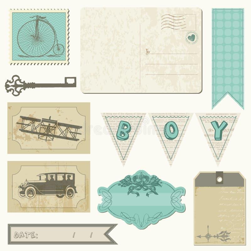 Elementi di disegno dell'album - insieme del ragazzo dell'annata illustrazione di stock