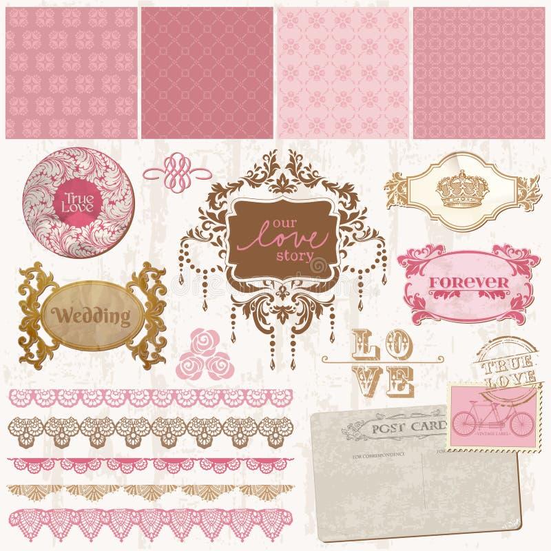 Elementi di disegno dell'album per ritagli - insieme di nozze dell'annata royalty illustrazione gratis