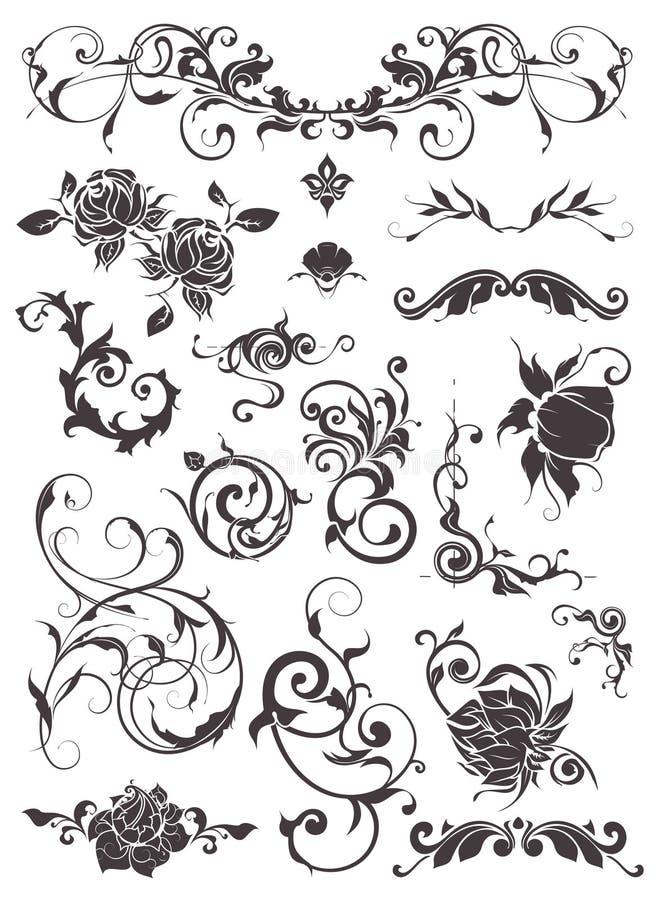 Elementi di disegno dell'annata, insieme illustrazione vettoriale
