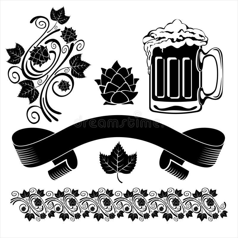 Elementi di disegno della birra royalty illustrazione gratis