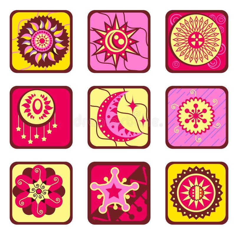 Elementi di disegno della stella e di Sun royalty illustrazione gratis