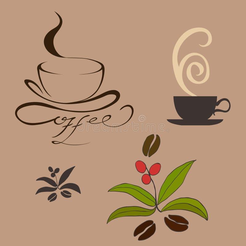 Elementi di disegno di Cofee royalty illustrazione gratis
