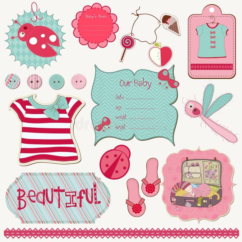 Elementi di disegno di Girly per l'album royalty illustrazione gratis