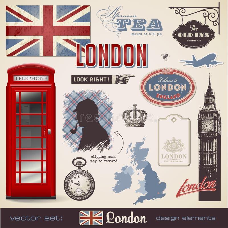 Elementi di disegno di Londra royalty illustrazione gratis