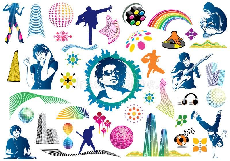 Elementi di disegno di musica illustrazione di stock