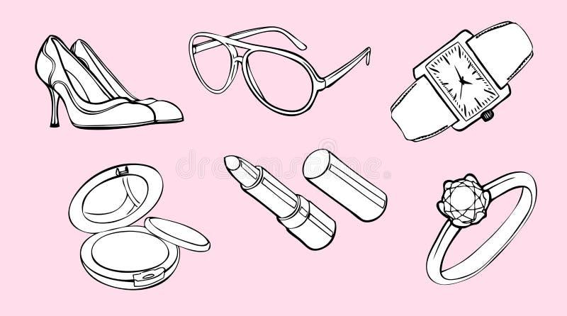 Elementi di disegno di stile della donna illustrazione di stock
