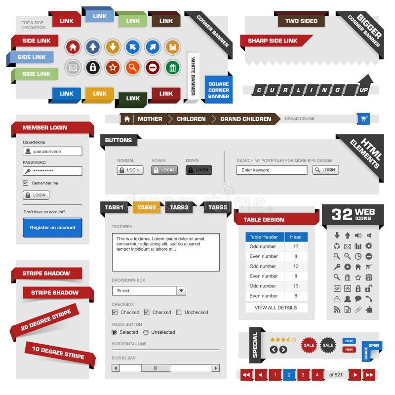 Elementi di disegno di Web di Web site illustrazione vettoriale