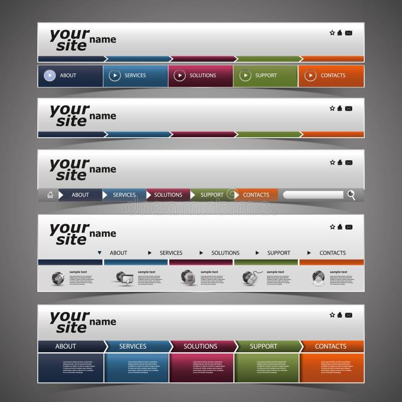 Elementi di disegno di Web - disegni dell'intestazione illustrazione di stock