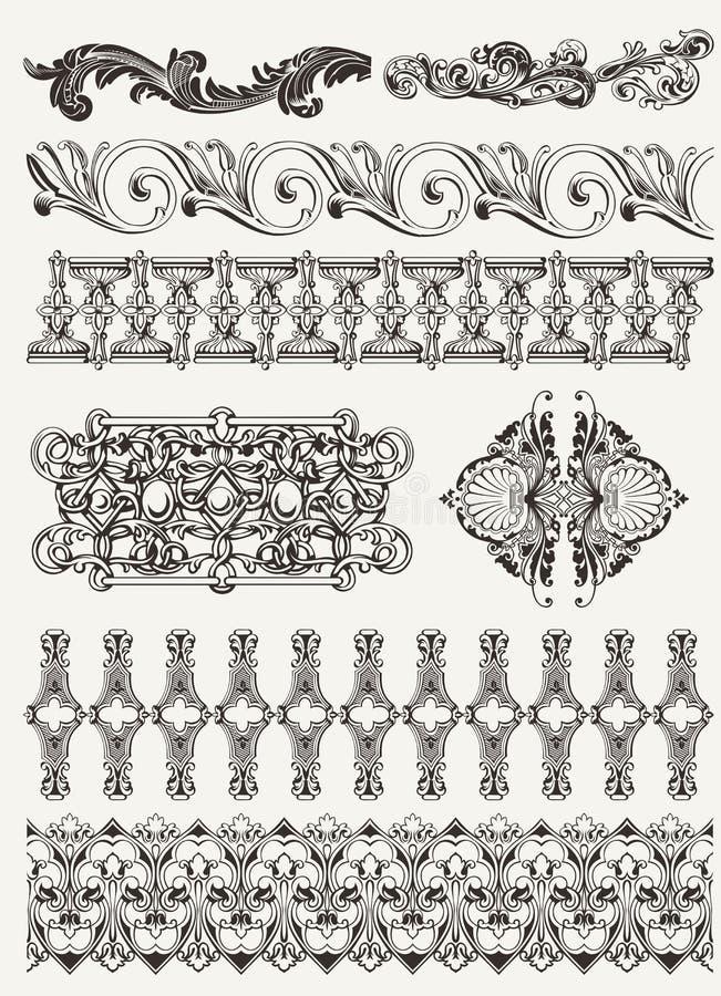 Elementi di disegno e decorazione antichi della pagina illustrazione di stock