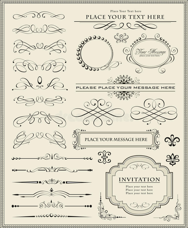 Elementi di disegno e decorazione calligrafici della pagina royalty illustrazione gratis