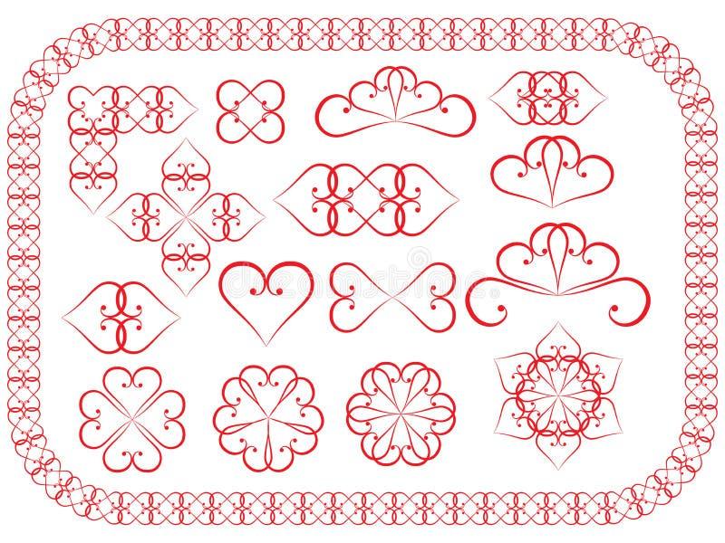 Elementi di disegno fatti dei biglietti di S. Valentino illustrazione vettoriale