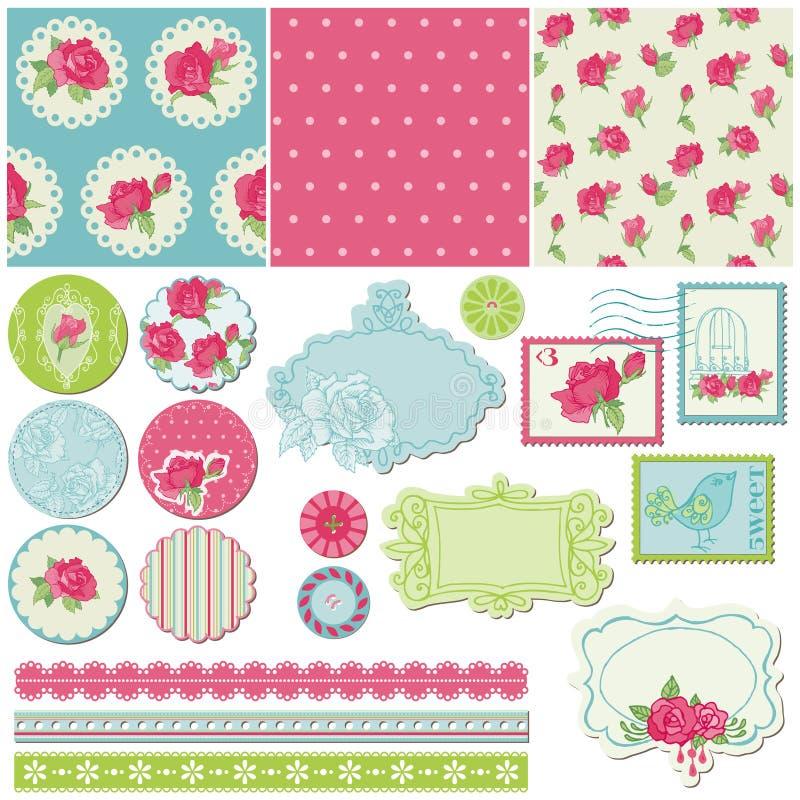 Elementi di disegno - fiori della Rosa royalty illustrazione gratis