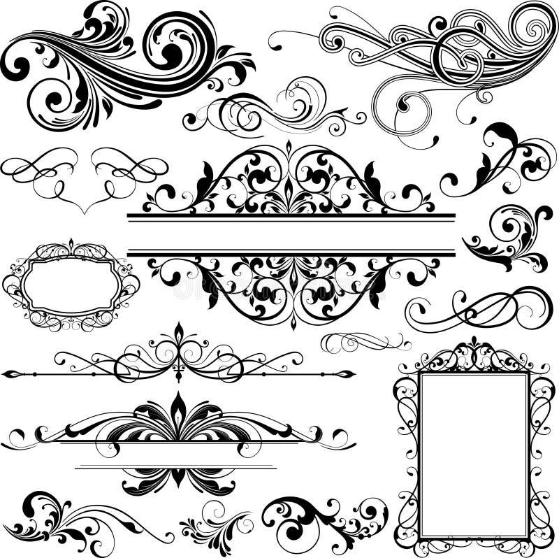Elementi di disegno floreale illustrazione vettoriale