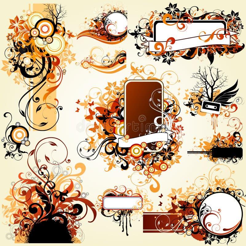 Elementi di disegno floreale illustrazione di stock