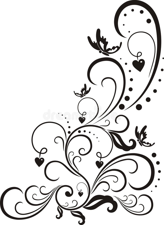 Elementi di disegno floreale. illustrazione di stock