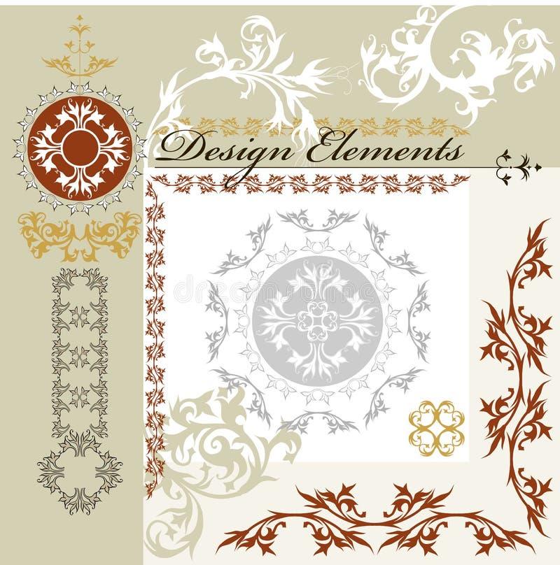 Elementi di disegno floreale dell'annata illustrazione di stock