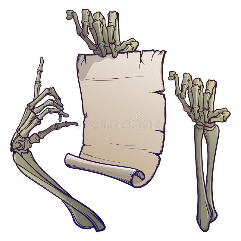 Elementi di disegno di Halloween Paia delle mani di scheletro che indicano con un dito e che tengono un'insegna disegno lineare i illustrazione di stock